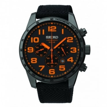 Seiko Gent's Black Military Solar Powered Watch SSC233P9