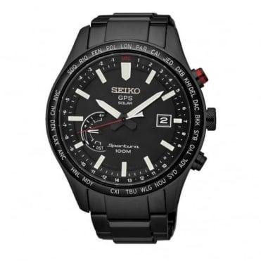 Seiko Gent's Black PVD Sportura GPS Solar Watch SSF005J1