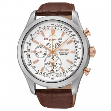 Seiko Gent's Brown Leather Chronograph Watch SPC129P1
