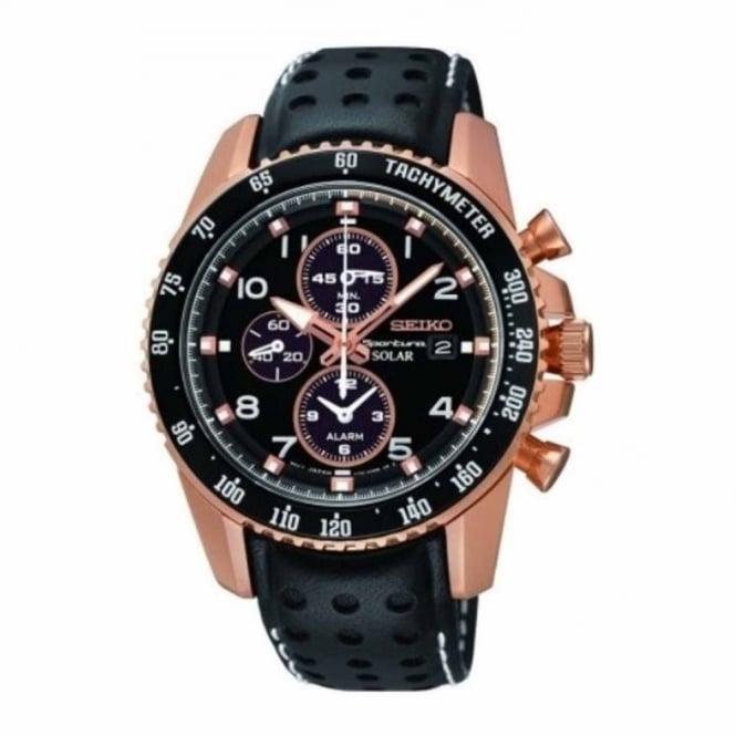 Seiko Gent's Rose Plate Solar Sportura Watch SSC274P9