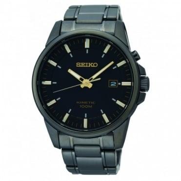 Seiko Gents S/Steel Black Ion-Plate Kinetic Watch SKA531P1