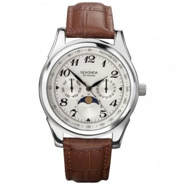 Sekonda Gent's Brown Leather Moon Phase Watch 3503