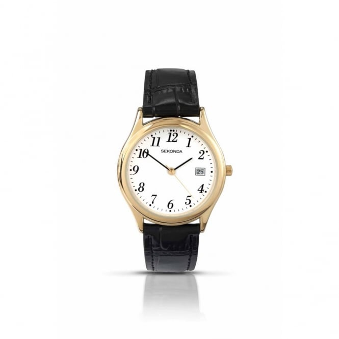 Gent's Gold Plate Black Leather Watch 3474