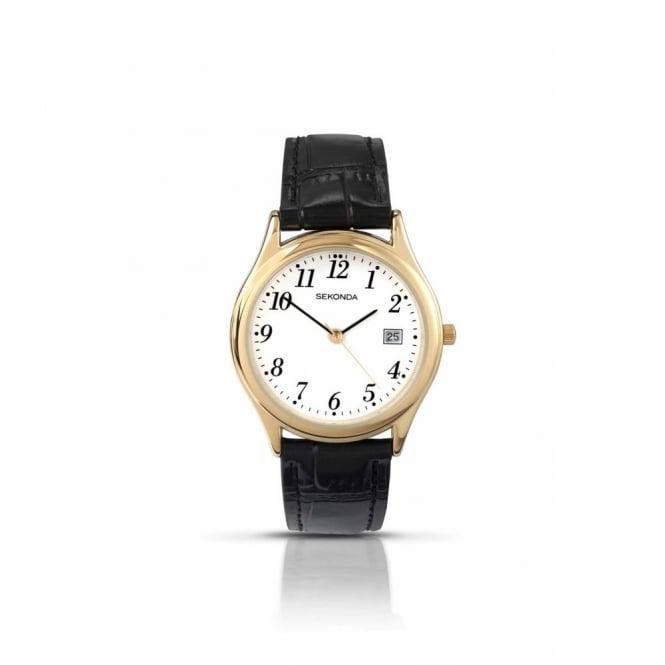 Sekonda Gent's Gold Plate Black Leather Watch 3474
