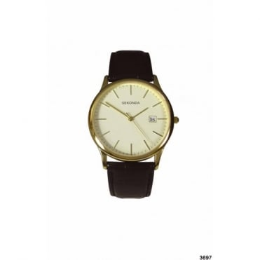 Men's Gold Plate Black Leather Watch 3697