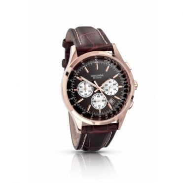 Sekonda Gents Rose Gold Plate Chronograph Watch 3413