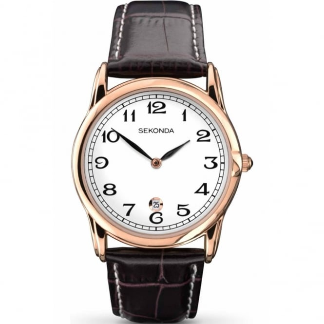 Gent's Rose Plate Brown Leather Watch 1012