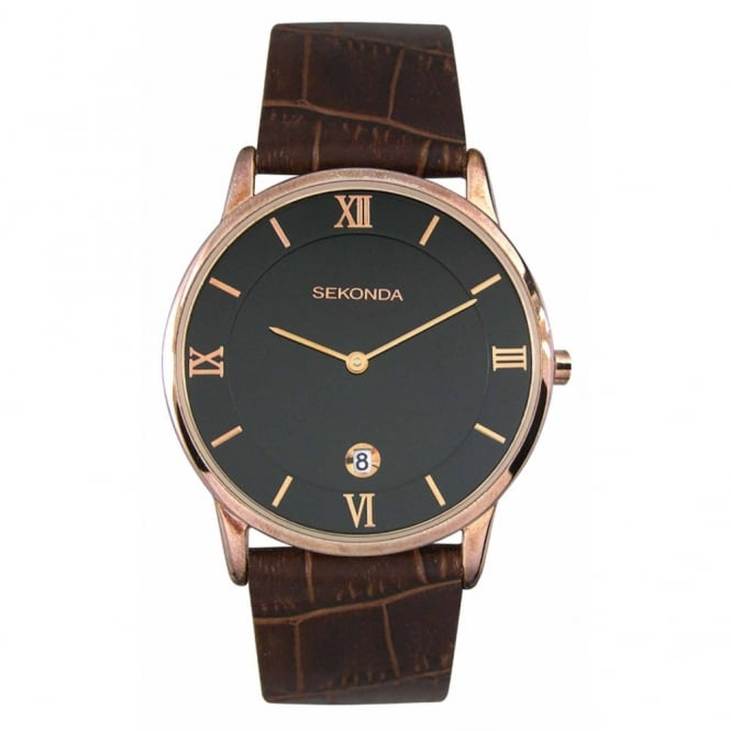 Sekonda Gent's Rose Plate Brown Leather Watch 3207