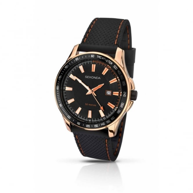 Gent's Rose Plate Rubber Strap Watch 1057
