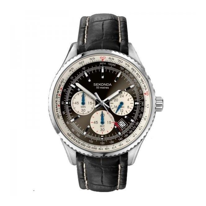 Gent's S/Steel Black Leather Chrono Watch 3408