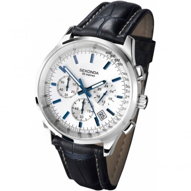 Gent's S/Steel Black Leather Chrono Watch 3461