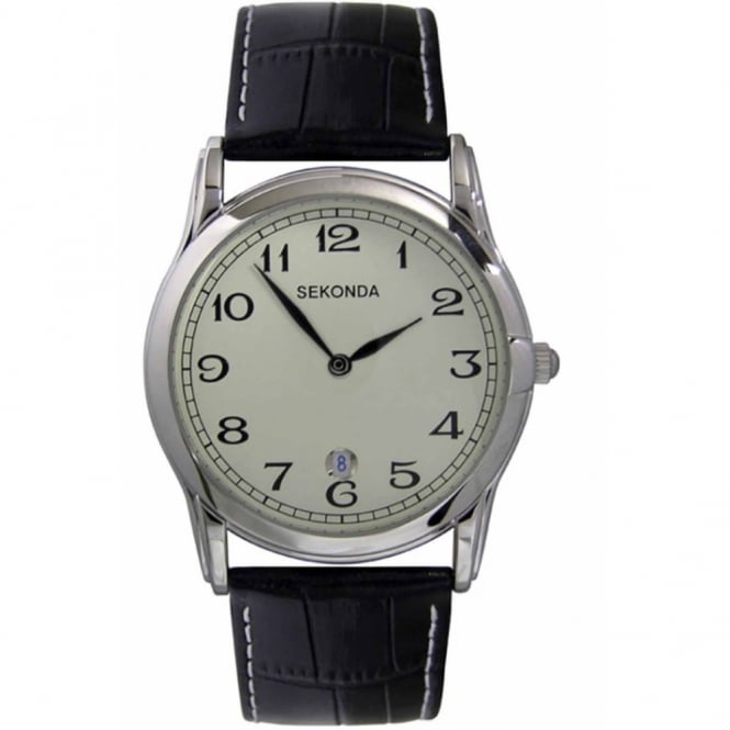 Gent's S/Steel Black Leather Watch 3017