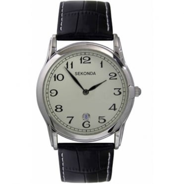 Men's S/Steel Black Leather Watch 3017