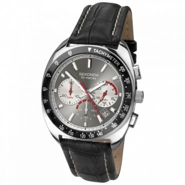 Sekonda Gent's S/Steel Black Leathet Chrono Watch 3509