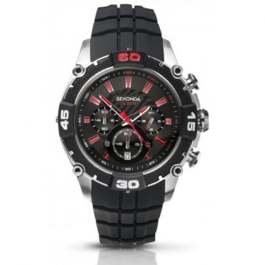 Men's S/Steel Rubber Chronograph Watch 3489