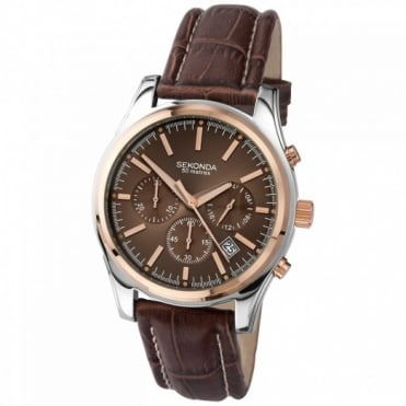 Sekonda Gent's Two Tone Chronograph Watch 3485