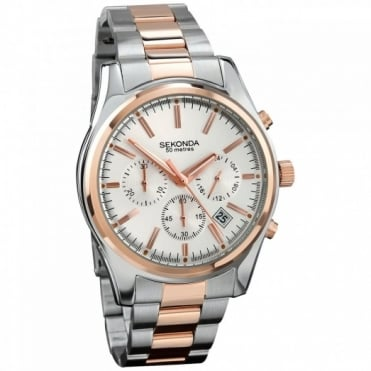 Sekonda Gent's Two Tone Chronograph Watch 3486