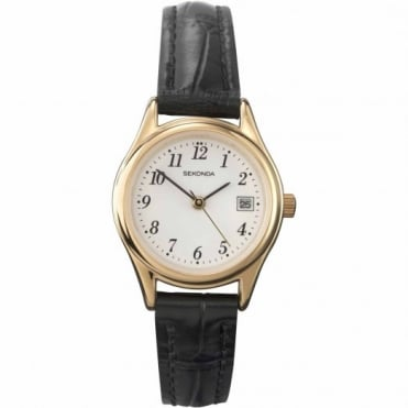 Ladies' Black Leather Watch 4082