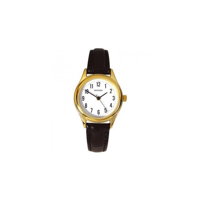 Sekonda Ladies' Black Leather Watch 4493