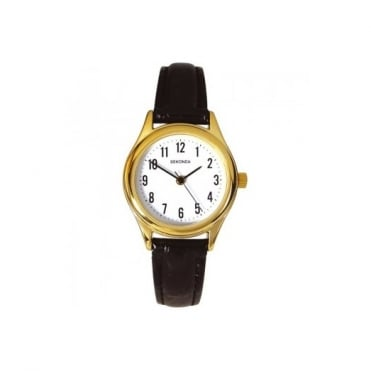 Ladies' Black Leather Watch 4493
