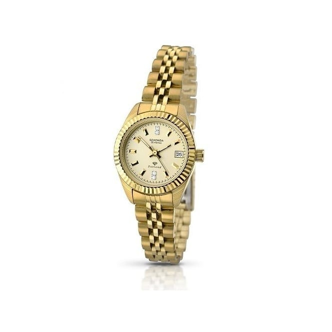 Ladies Gold Plate Diamond Set Watch 2062