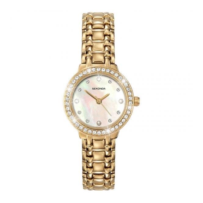 Sekonda Ladies Gold Plate Stone Set Watch 4690