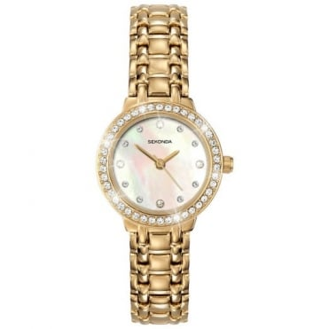 Ladies Gold Plate Stone Set Watch 4690