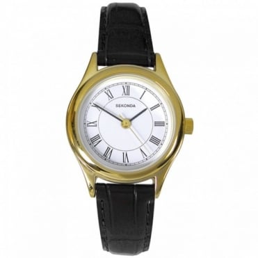 Sekonda Ladies' Gold Playe Black Leather Watch 4495