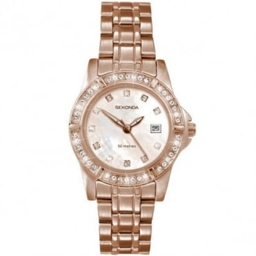 Sekonda Ladie's Rose Plate Stone Set Watch 4618