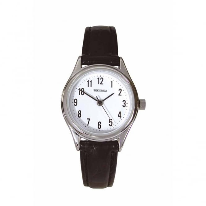 Ladies S/Steel Black Leather Watch 4491