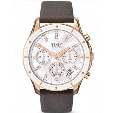 Seksy By Sekonda Ladies Brown Leather Chrono 365 Watch 2213