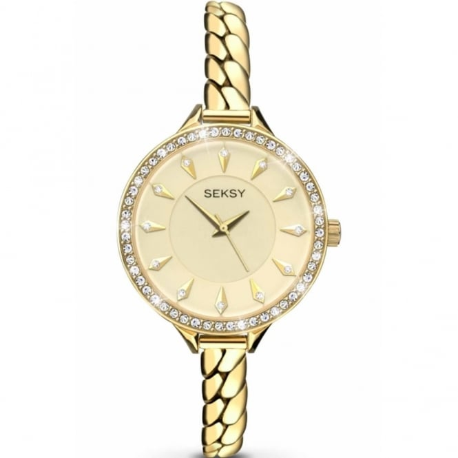 Seksy By Sekonda Ladies' Gold Plate Stone Set Embrace Watch 2096