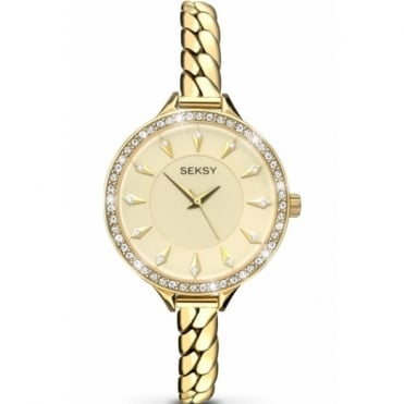 Ladies' Gold Plate Stone Set Embrace Watch 2096
