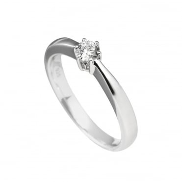 Silver 0.25ct Cubic Solitaire Ring 61-1484-1-082