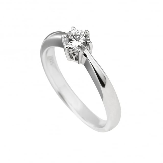 Silver 0.50ct Cubic Solitaire Ring 61-1485-1-082