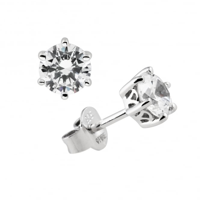 Silver 0.75ct Cubic Solitaire Earrings 62-1266-1-082