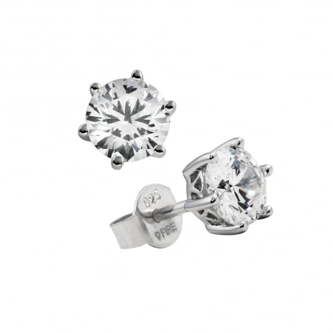 Silver 1.00ct Cubic Solitaire Earrings 62-1265-1-082