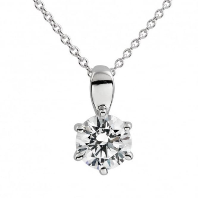 Silver 1.00ct Cubic Solitaire Pendant & Necklace 65-1003-1-082
