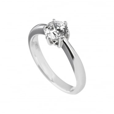 Silver 1.00ct Cubic Solitaire Ring 61-1487-1-082