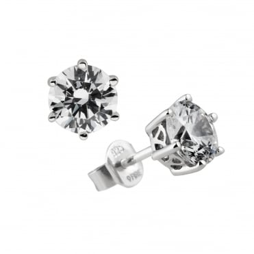 Silver 1.50ct Cubic Solitaire Earrings 62-1264-1-082