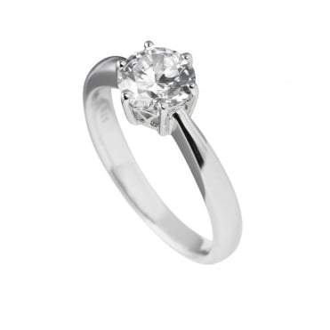 Silver 1.50ct Cubic Solitaire Ring 61-1488-1-082
