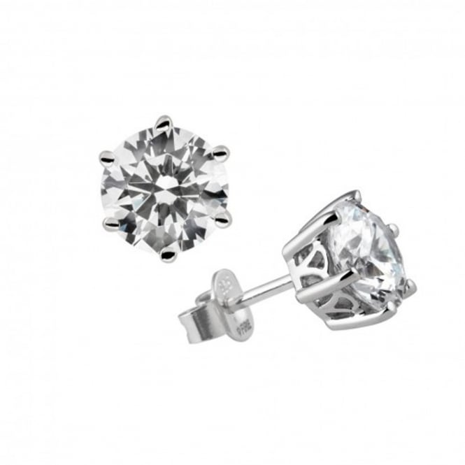 Silver 2.00ct Cubic Solitaire Earrings 62-1011-1-082