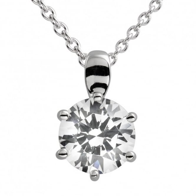 Silver 2.00ct Cubic Solitaire Pendant & Necklace 65-0783-1-082