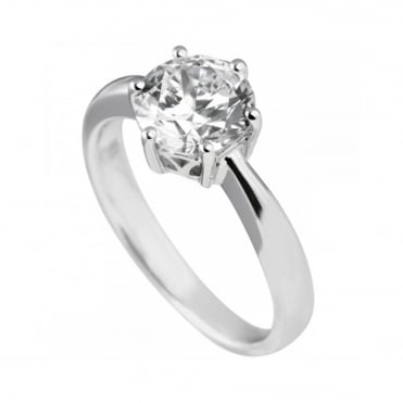 Silver 2.00ct Cubic Solitaire Ring 61-1489-1-082