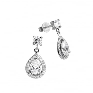 Silver 2.00ct Cubic Tear Drop Cluster Earrings 62-1474-1-082
