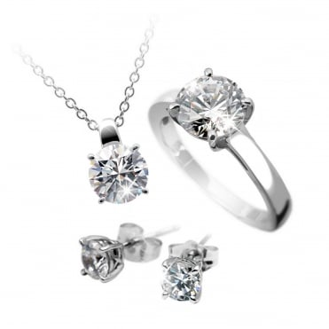 Silver 5ct Solitaire Pendant, Ring & Earring Set 13-0978-1-917