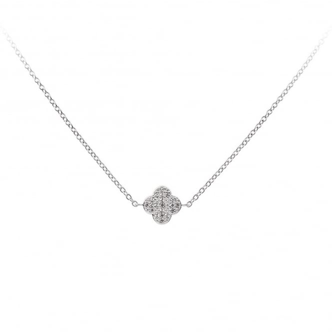Silver Cubic Clover Necklace 63-0906-1-082