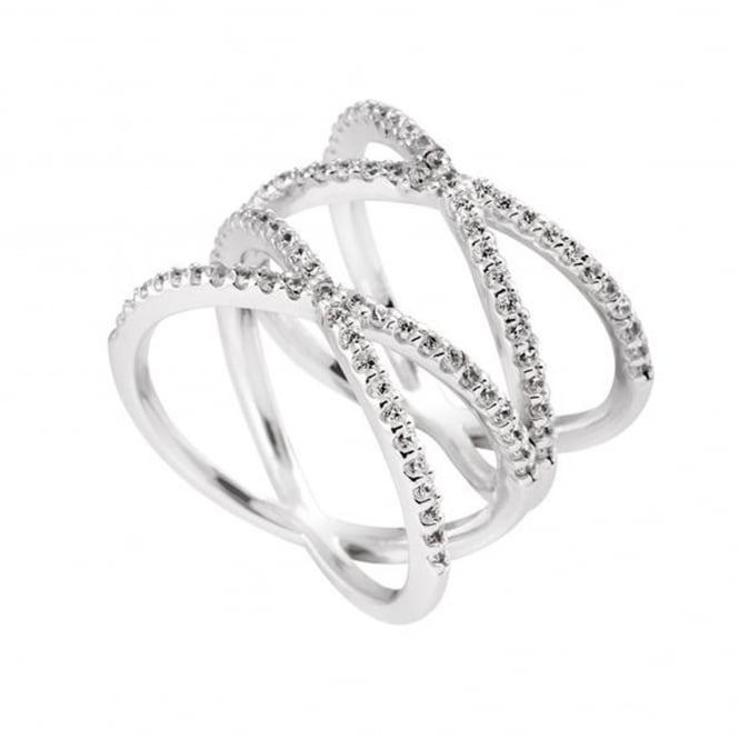 Silver Cubic Double Cross Over Ring 61-1791-1-082