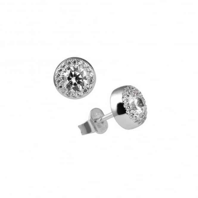 Silver Cubic Round Cluster Earrings 62-1467-1-082
