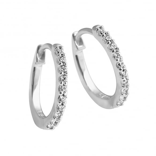 Silver Cubic Solitaire Creole Earrings 62-1725-1-082